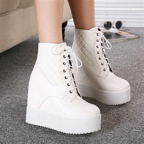 white wedge ankle boots tsaa heel