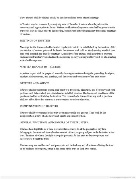 Sle Printable Business Trust Agreement Form Printable Real Estate Forms 2014 Pinterest Business Trust Template