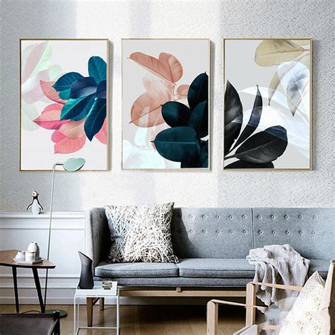 room posters nordic paintings wall pictures for living room posters plants leav elleseal