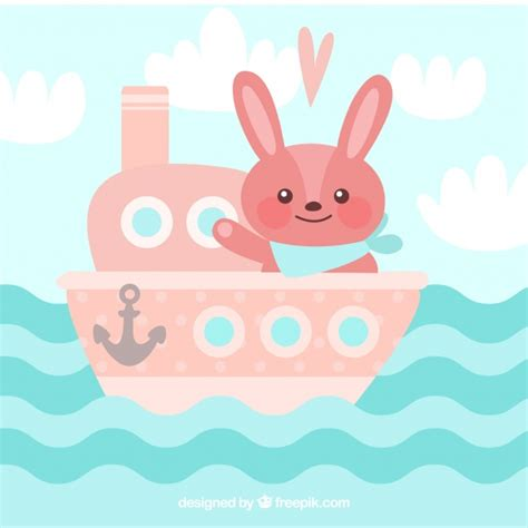 bunny boat cute background of pink boat with bunny vector free download