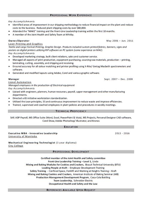 industrial production manager resume example experienced