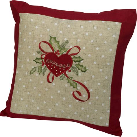 festive embroidered christmas cushion cover decorative
