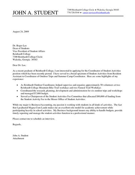 college student cover letter sle cover letter for