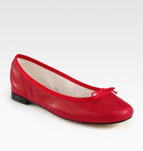 Repetto Caperino Peperone Bb Ballerina by Repetto Bb Pebbled Leather Ballet Flats In Lyst