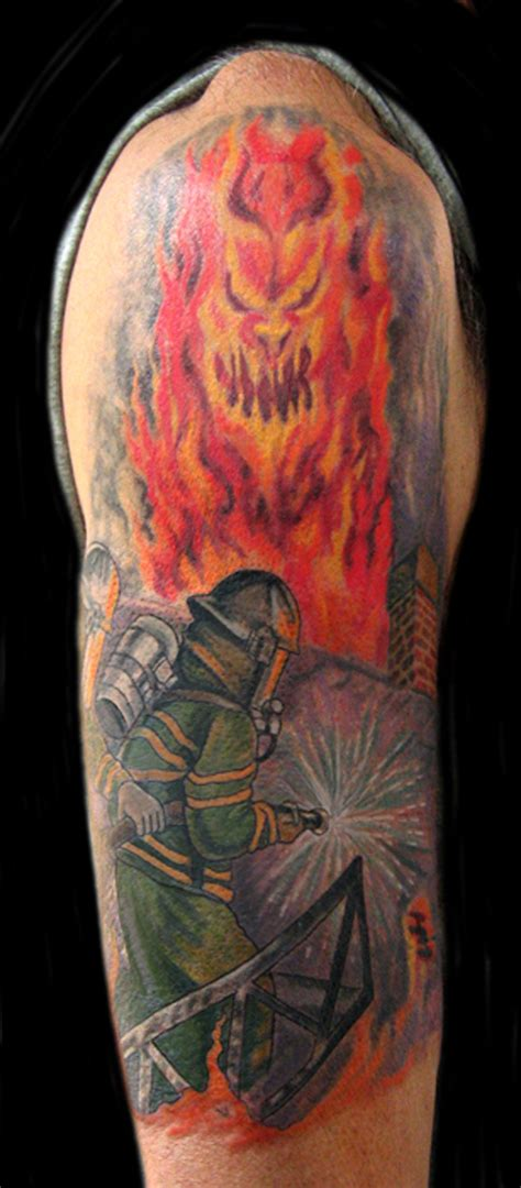 tattooed firefighter firefighter tattoos