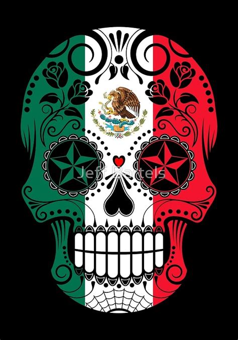Home Decor Art Prints quot sugar skull with roses and flag of mexico quot art prints by