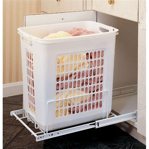 Rev A Shelf White Pull Out Polymer Laundry Hamper for