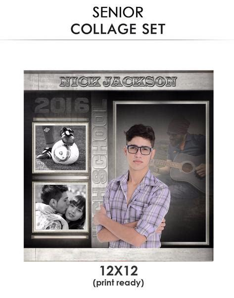 senior photo collage templates nick senior collage photoshop template