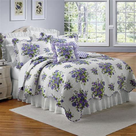 Lavender Bed Set Beautiful Lavender Purple Violets Floral Size Quilt Bed Set New Size Quilt