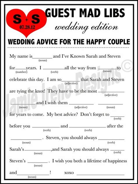 Wedding Mad Libs by Wedding Mad Libs But Make Our Own Forget Buying Them