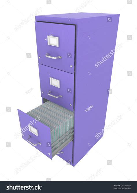 Purple Filing Cabinet Purple 3d Filing Cabinet Drawer Open Stock Illustration