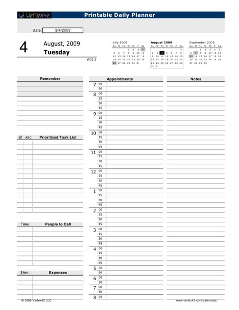 printable daily calendar template free printable daily appointment sheets calendar