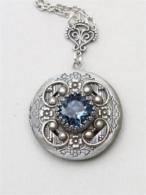sapphire locket silver locket jewelry necklace