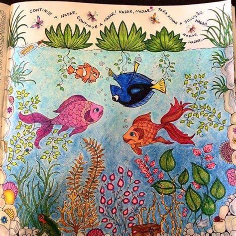 secret garden colouring book fishpond fish secret garden peixe jardim secreto johanna basford