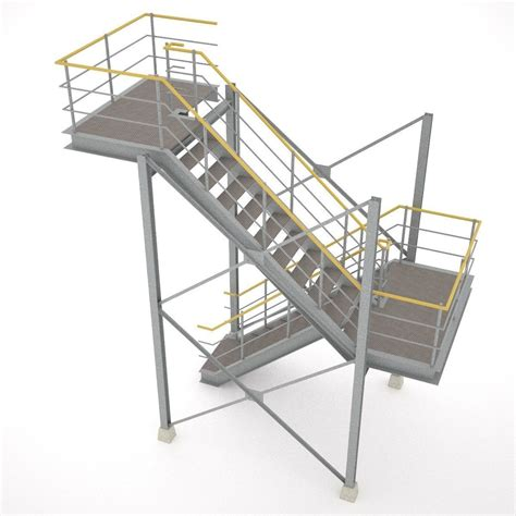 industrial stairs 01 3d model obj 3ds fbx hrc xsi - Industrial Stairs