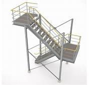 Industrial Stairs  01 3D Model Obj 3ds Fbx Hrc Xsi