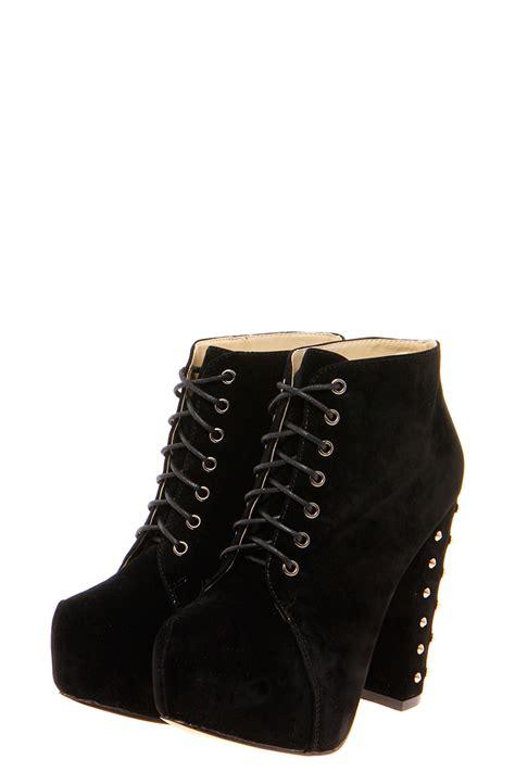 boohoo womens zina black studded block heel lace up