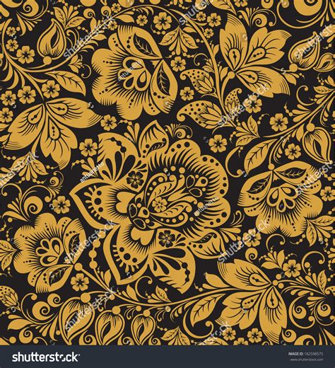 gold pattern floral seamless floral pattern gold flowers on stock vector