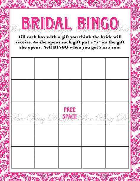 Printable Bridal Shower Bingo | printable hot pink damask bridal shower bingo game instant