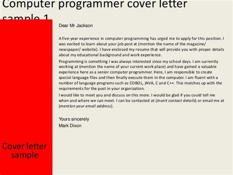 Computer Programmer Cover Letter by Computer Programmer Cover Letter