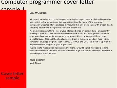 computer programmer cover letter computer programmer cover letter