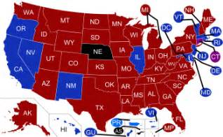 what is the democratic color states and blue states