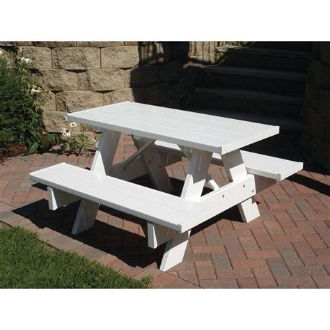 vinyl picnic table dura trel 4 ft white vinyl patio picnic table 11127