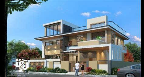 3d modern architecture 3d lavish bungalow exterior elevation day view 3d visualization by
