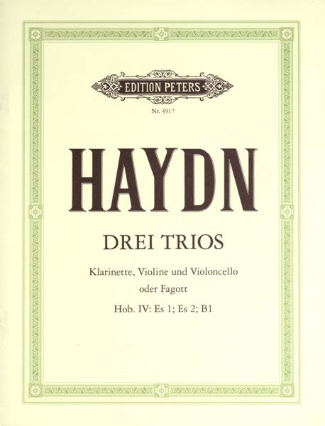 0001128876 trio clarinette ensemble de partitions partitions haydn joseph clarinet trios mixed