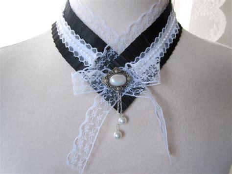 Xylia White Lace Choker W Charm lace choker accessories ruffled fabric