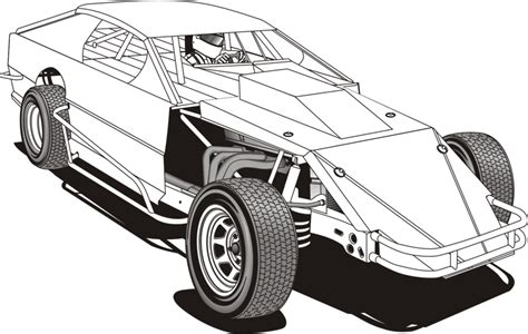 coloring pages of stock cars dirt modified clip art 30