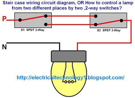 two way electrical switch wiring diagram staircase wiring circuit diagram electrical technolgy