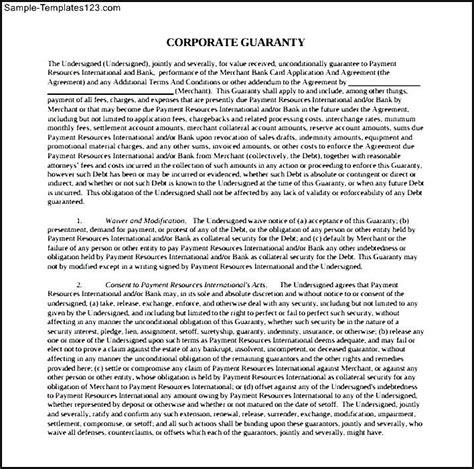 company guarantee template corporate guarantee document sle templates