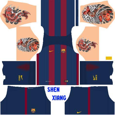 barcelona dls kit fc barcelona 2016 17 kit with tattoo no qatar airways logo