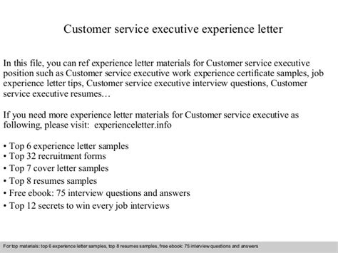 Service Letter For Marketing Executive Customer Service Executive Experience Letter