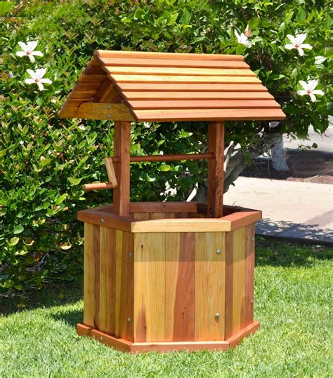 Wishing Well Planters by Wishing Well Wood Wishing Forever Redwood