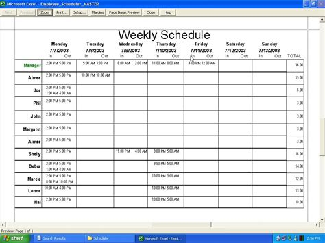 works schedule template employee work schedule template excel