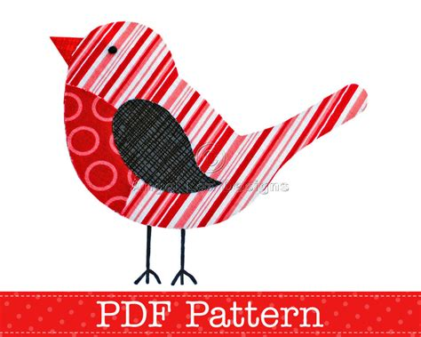 pattern for christmas robin robin applique template pdf pattern christmas robin bird