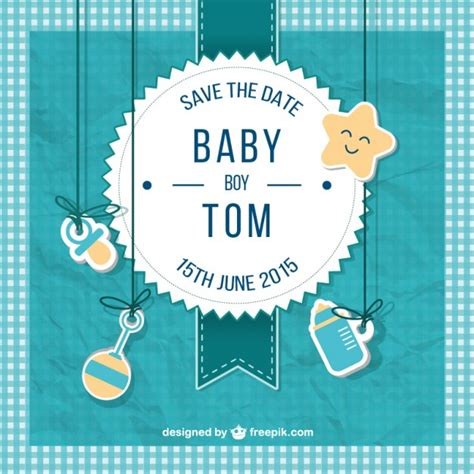 Baby Shower For by Baby Shower Card For Boy In Scrapbook Style Vector Free
