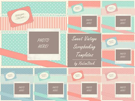 sweet vintage scrapbooking templates by xiulanstock on
