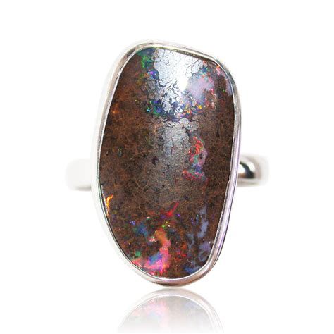 matrix opal ring red multi coloured matrix opal sterling silver ring