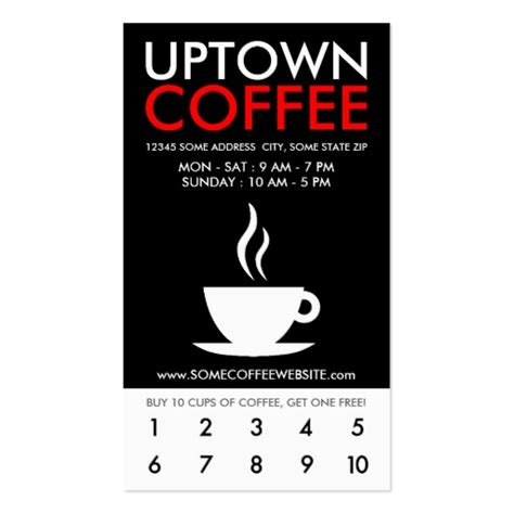 coffee loyalty card template free punchcard business card templates bizcardstudio