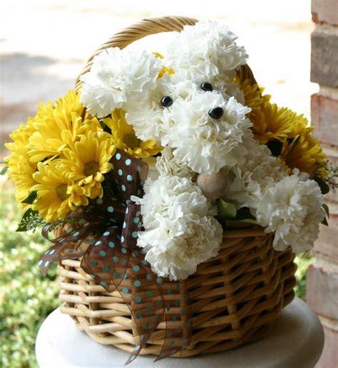 puppy flower arrangement puppy arrangement flowers