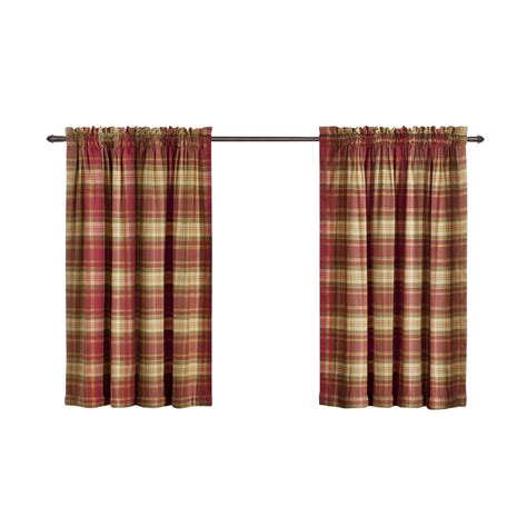 plaid valance curtains shop style selections bernard plaid 36 in l plaid red rod