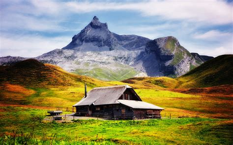 home in the mountains wallpaper mountain house hills clouds sky desktop