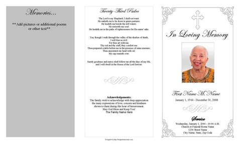 funeral program template grey ornate cross