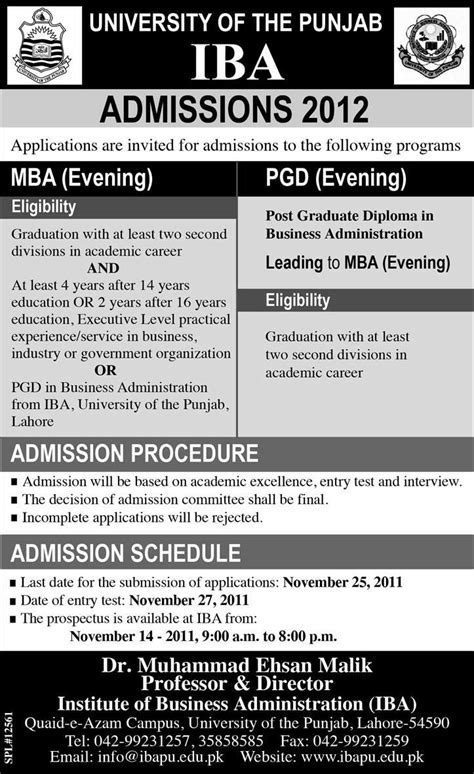 Iba Pu Mba Admission by Iba Punjab Lahore Admission 2015 Mba Evening