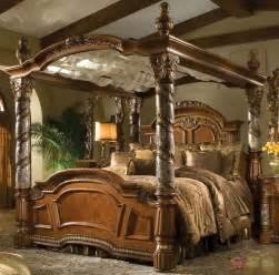 Four Poster Bed Canopy Villa Valencia Luxury King Poster Canopy Bed W Marble Posts Aico Michael Amini Ebay
