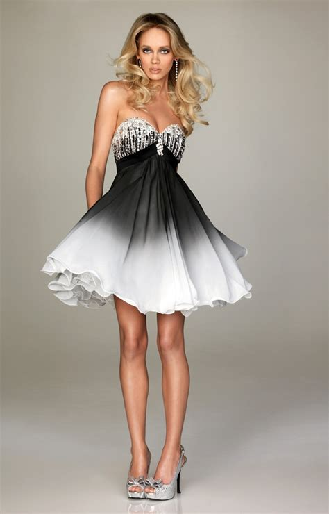 White And Black Dress black prom dresses dressed up