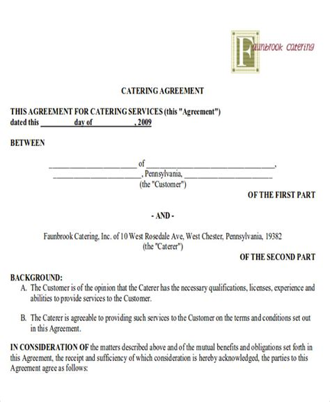 terms of agreement contract template sle catering contract agreements 8 exles in word pdf